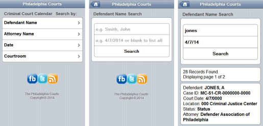 FJD Criminal Mobile App example pages